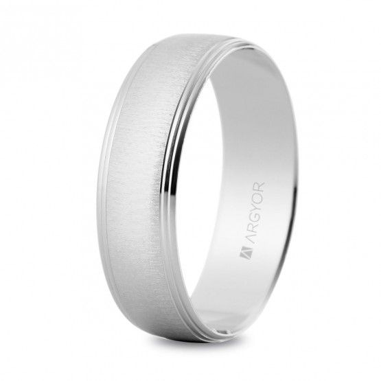 Anillo de bodas texturizado de oro blanco (5B60466)