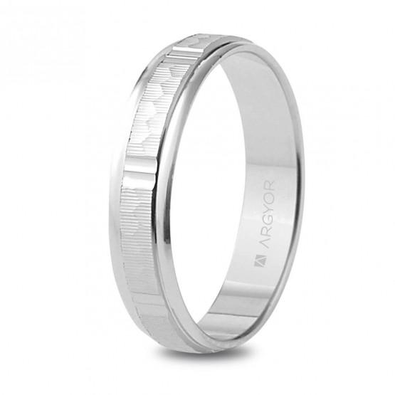 Argolla de matrimonio en plata 4mm labrado-brillo (5740311)