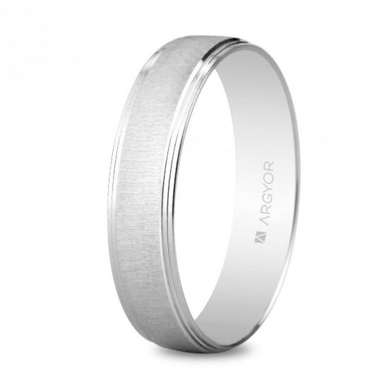 Argolla matrimonial de oro blanco texturizado (5B45466)