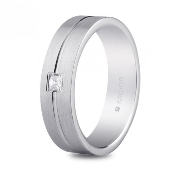 Argolla de matrimonio en plata 5,5mm circonita confort (5755153N)