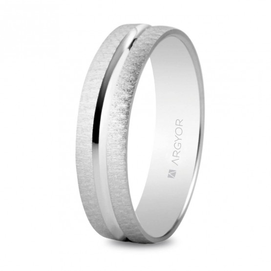 Argolla de matrimonio en plata mate-brillo 4mm texturizada (5740474)
