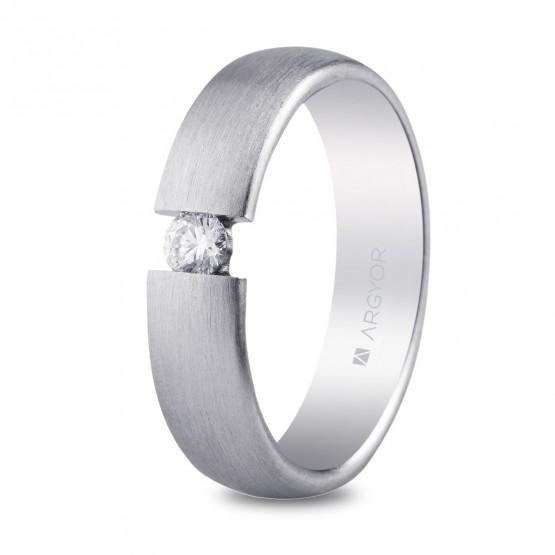 Argolla de matrimonio de plata mate-satinada con 1 circonita (5750151N)