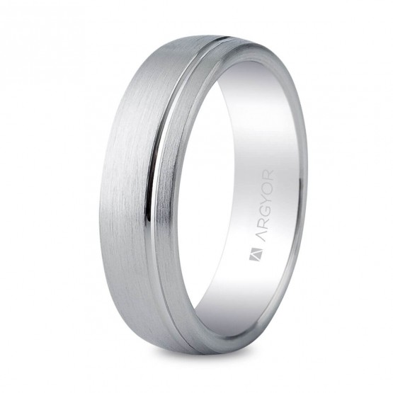 59ad35f0a5e0 Anillo de bodas para hombre de plata satinada-brillo confort (5755050N)