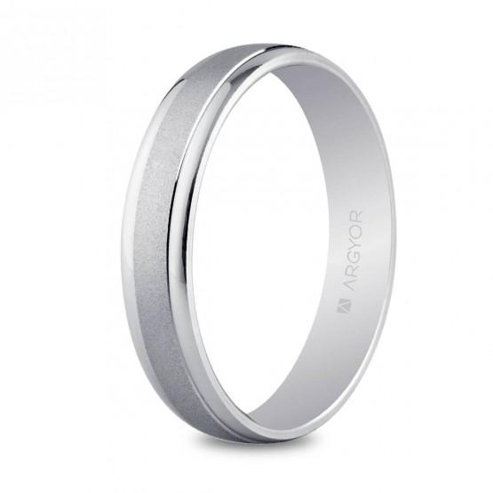 Argolla de matrimonio de oro blanco 4mm (5B40044)