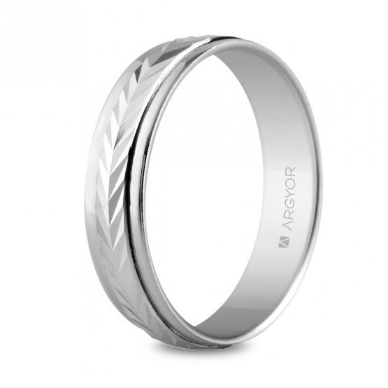 Argolla matrimonial de plata diseño facetado en espiga 5 mm (5750283)