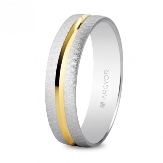 Anillo de bodas plano de oro bicolor (5240474)