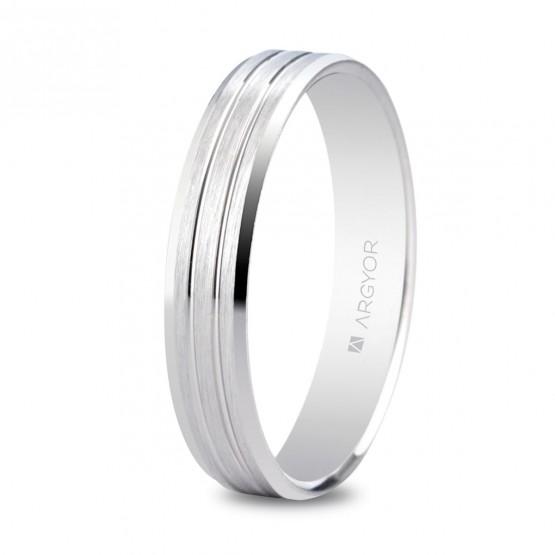 Argolla matrimonial de plata plana biselada 4mm (5740436)