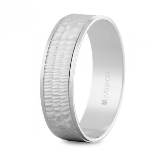 Argolla matrimonial de oro blanco (5B60303)