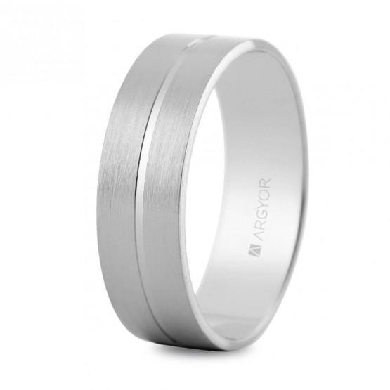 Anillo de boda plano de oro blanco (5B60494)