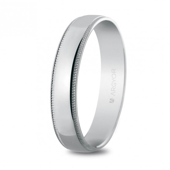 Anillo de boda en plata brillo y cantos labrados 4,5mm (5745512)