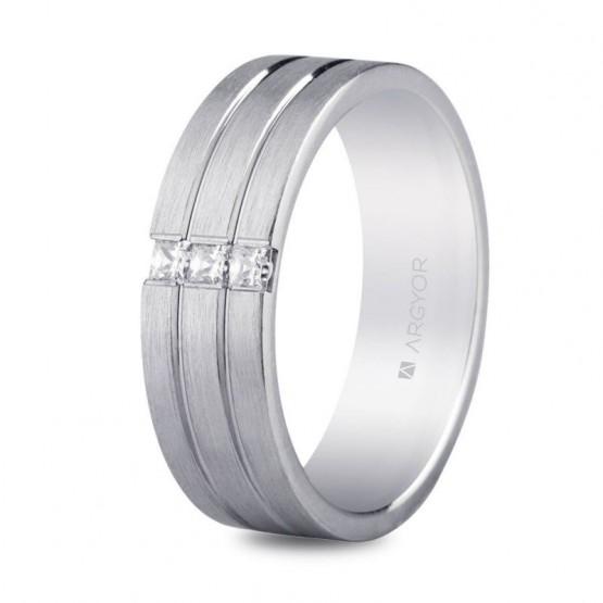 Argolla de matrimonio en plata y circonitas triple banda confort (5765152N)