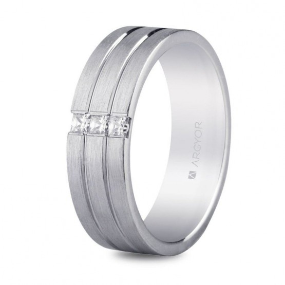 165f99c0e909 Argolla de matrimonio en plata y circonitas triple banda confort (5765152N)