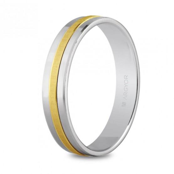 Argolla matrimonial de oro blanco y amarillo (5242255)