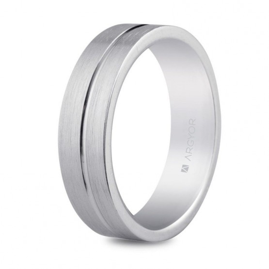 Argolla de matrimonio de plata 5,5mm bisel central (5755053N)