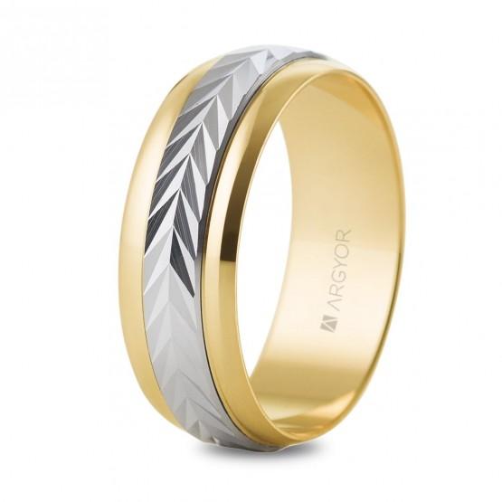 Anillo de boda de oro bicolor efecto espiga (5260283)