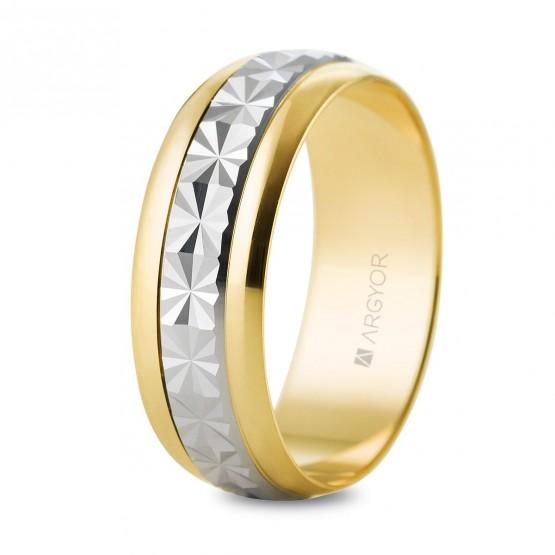 Argolla de matrimonio facetada de oro bicolor brillo (5260108)