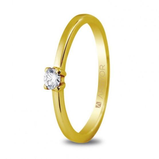 Anillo de compromiso de oro y diamante 0.10 ct