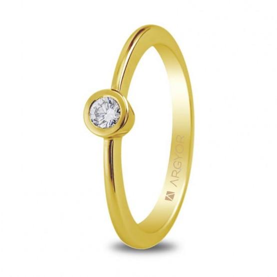 Anillo compromiso de oro y diamante 0.10 ct (74A0006)