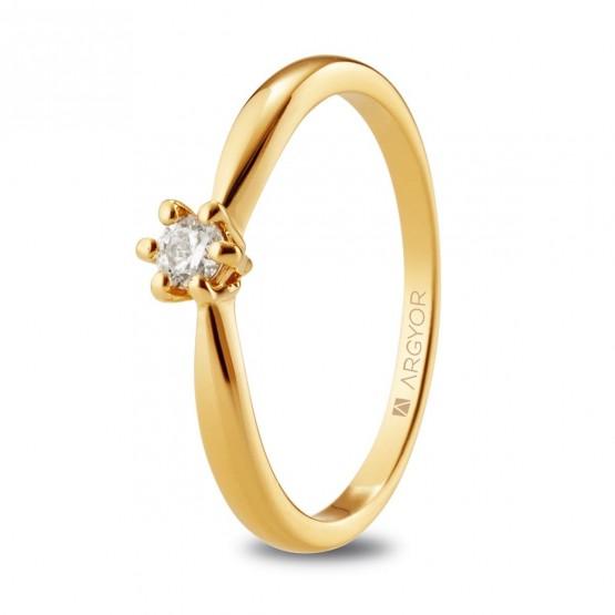 Solitario de compromiso de oro  (074A0130-074A0133)