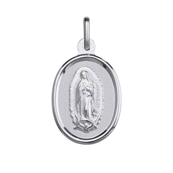 Medalla de oro blanco con bisel Virgen de Guadalupe (1B902255)