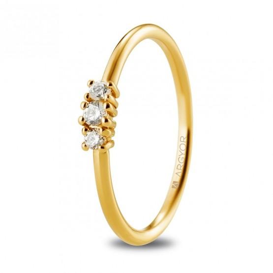 Anillo compromiso de oro y 3 brillantes (074A0080)