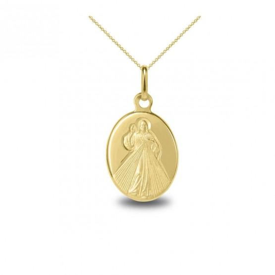 Medalla de oro 14k Cristo de la Divina Misericordia (10384773)