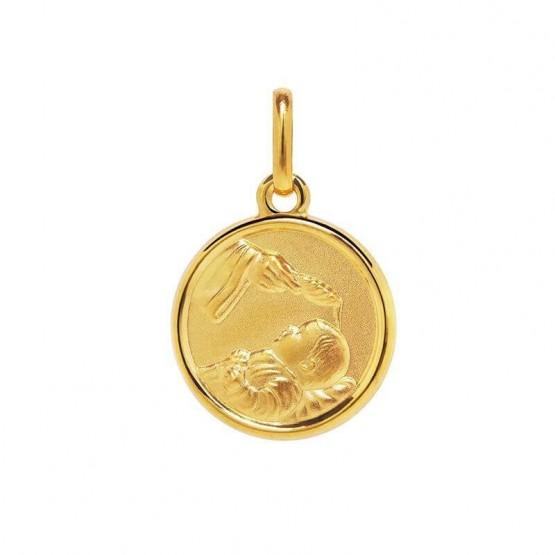 Medalla de plata chapeada en oro 14k imagen del bautismo (1260468D)
