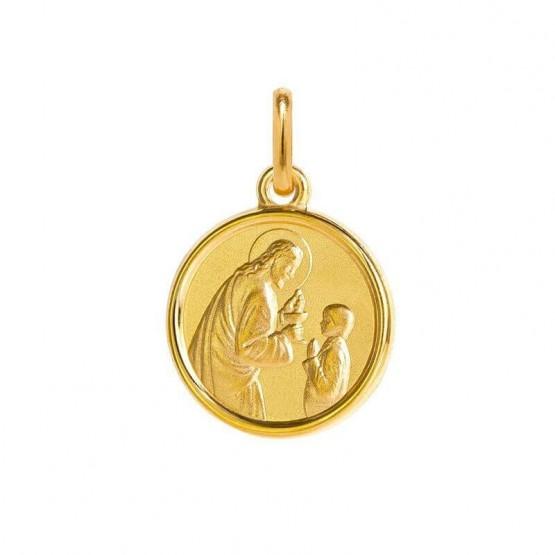Medalla de plata chapeada imagen de Cristo con un niño (1260474D)