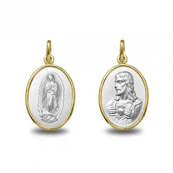 Medalla de oro bicolor V. Guadalupe y Sag. Corazón oval 18mm  (1291620)