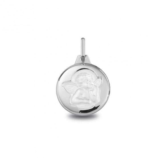Medalla de comunión en plata con angelito (1030454L)