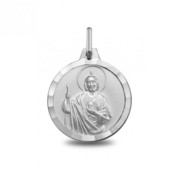 Medalla De Plata Con San Judas Tadeo 1000341 Argyor Mx Tamano 14 Mm