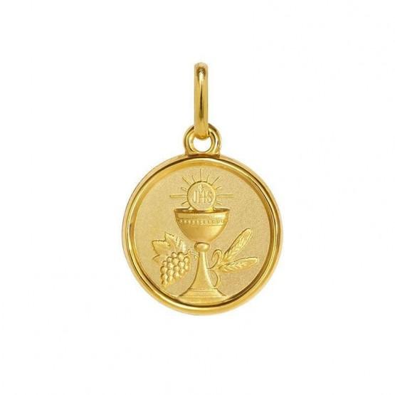 Medalla de plata chapeada en oro 24k Cáliz Primera Comunión (1260469D)