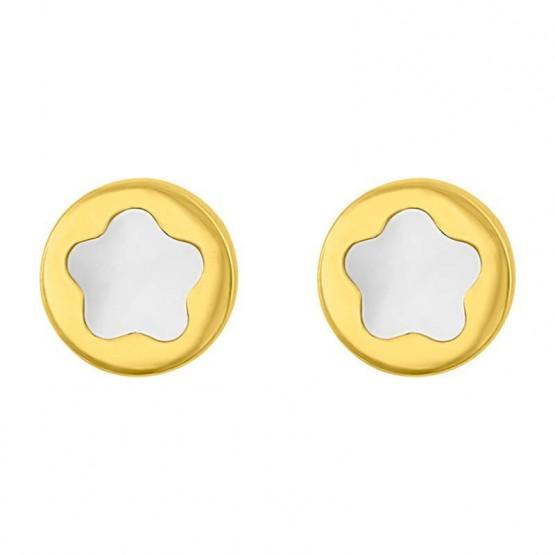 Aretes de oro blanco 14k Círculo con estrella de nácar (0101)