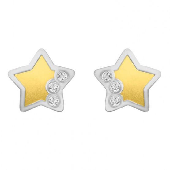 Aretes estrella de oro amarillo y oro blanco 14k  (018302)