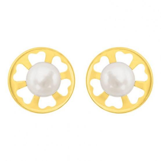 Aretes de oro 14k circulo con flor calada y perla (036803)