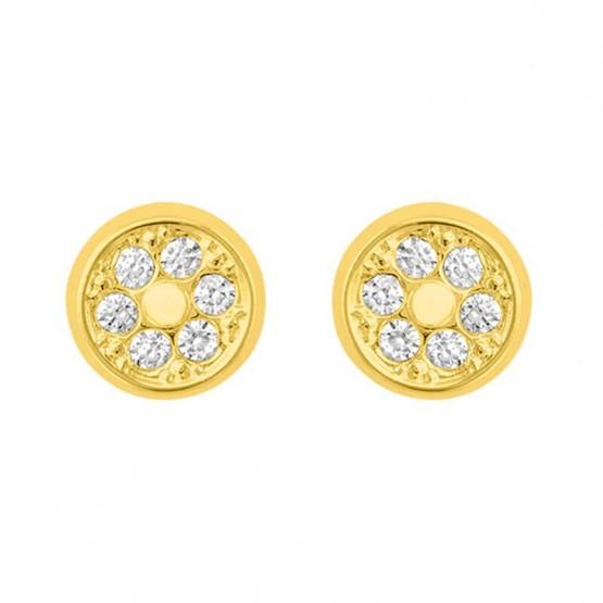 Aretes de oro 14k Círculo con relieves y zirconias (050501)