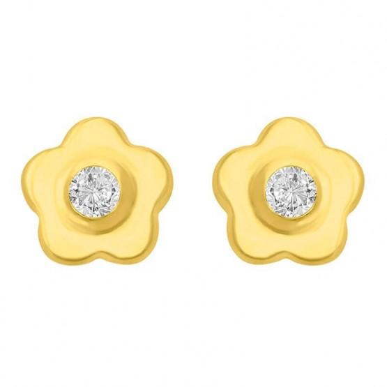 Aretes de oro 14k Florecita con zirconia (0528BIS/0)