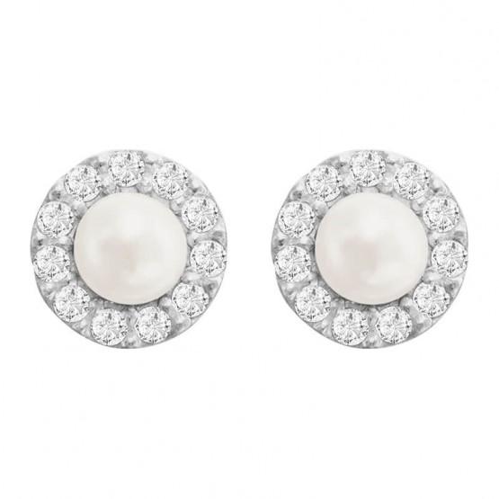 Aretes de oro blanco 14k con perla y zirconias (057201)