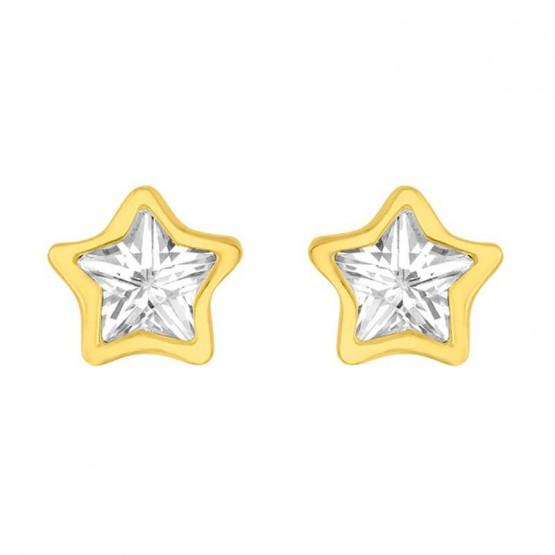 Aretes de oro 14k estrella con zirconia (0598/0)