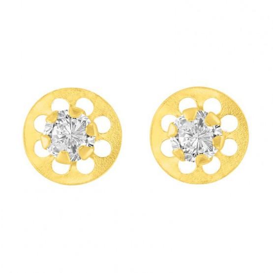 Aretes de oro 14k círculo con flor calada y zirconia (061304)