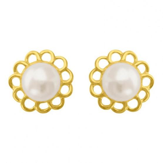 Aretes de oro 14k Flor calada con perla (0685)
