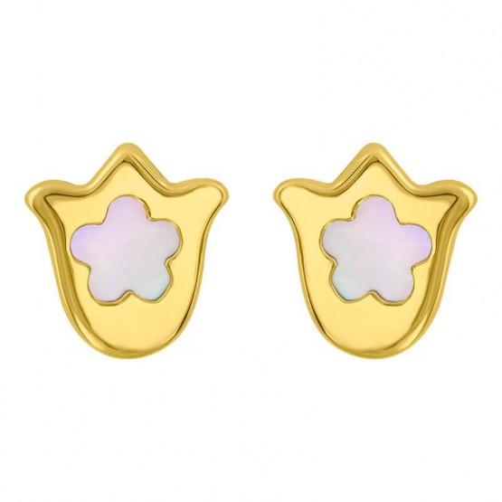 Aretes de oro 14k Flor con madreperla (0708/0)