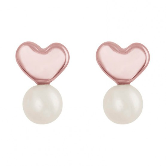 Aretes de oro rosa 14k corazón con perla (0712/0)