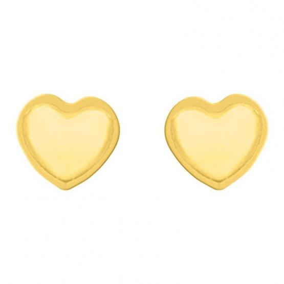 Aretes oro 14k corazón con filo mateado (089903)