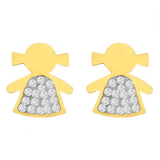nueva productos 0786d 1bdf1 Aretes Niña de oro amarillo 14k con oro blanco y zirconias (091427)