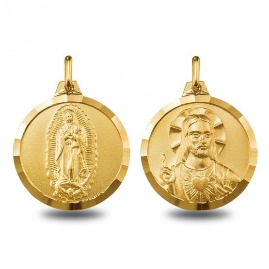 Escapulario de oro con la V. Guadalupe y el Sagrado Corazón (1000614)