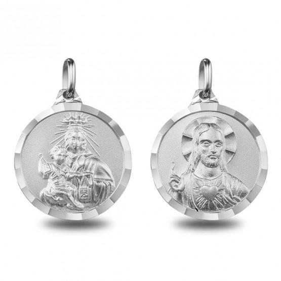 Escapulario de plata V. Carmen y Sagrado Corazón (1000617)