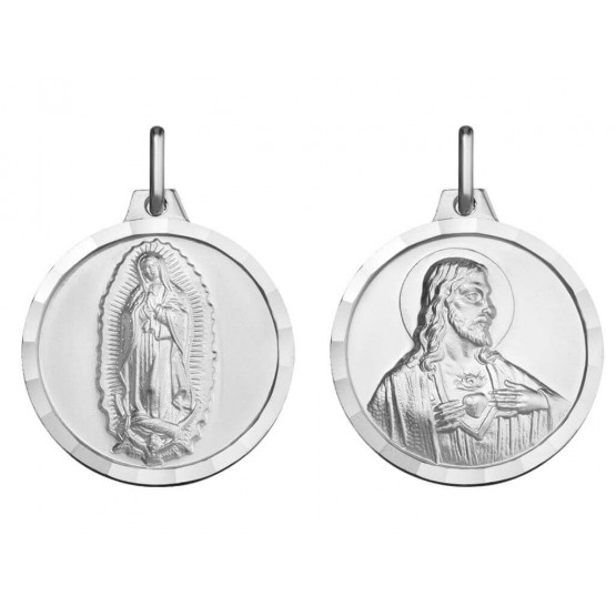 Escapulario plata Guadalupe y Sagrado Corazón (1000607)