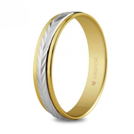 Anillo de boda de oro bicolor efecto espiga (5240283)
