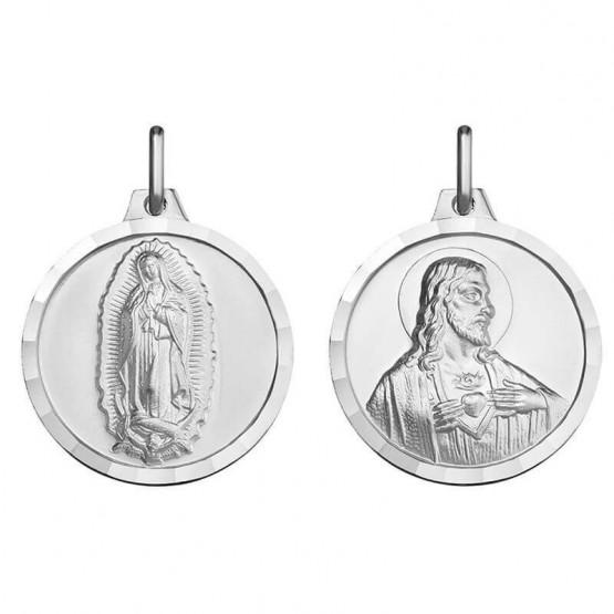 Escapulario de oro blanco Guadalupe y Sagrado Corazón (1B00607)